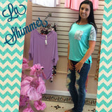 Mint Tee with Sequin Pocket