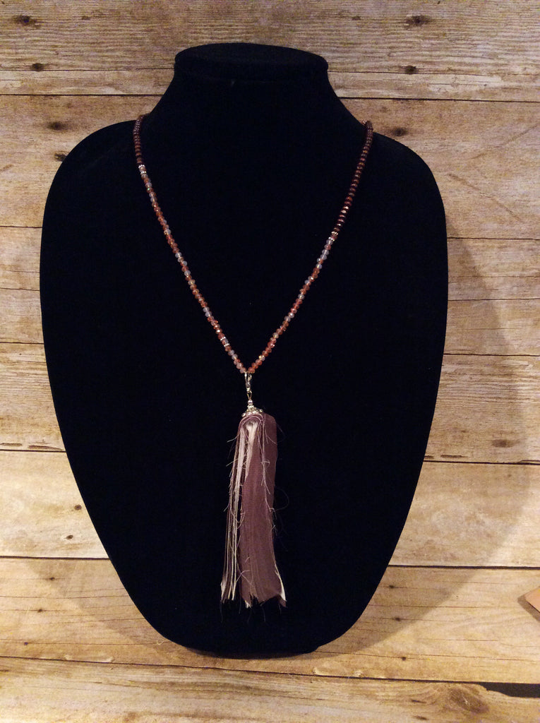 All Beaded Long Necklace with Cloth Tassel