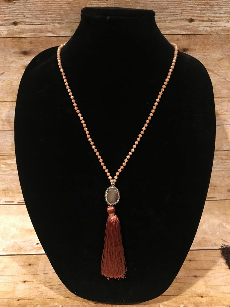 Beaded Long Necklace with Tassel