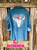 Denim Pearl Snap with Boho Steer