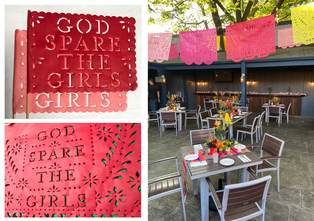 cutout text red papel picado bunting outdoor