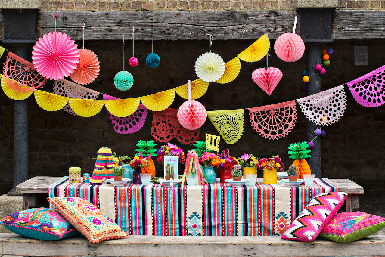 CARNIVAL CORAL papel picado bunting featured on an Irish Bride's photo shoot