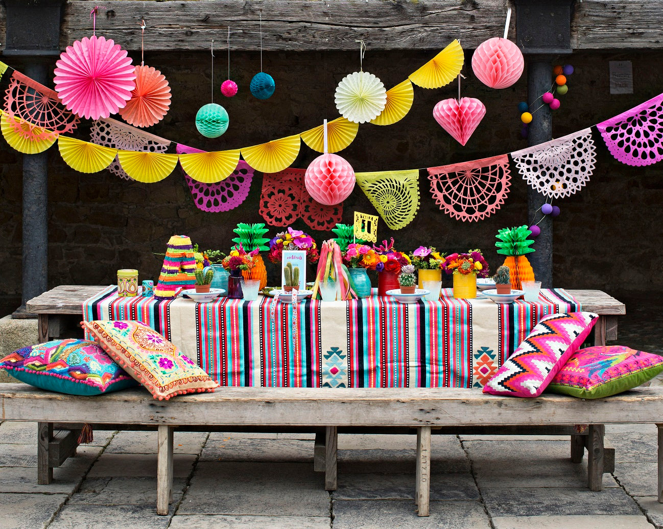 ARTMEXICO papel picado Coral Collection bunting wedding decorations featured in Irish Brides magazine