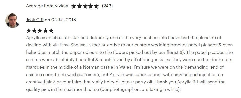 Review for Custom Wedding Bunting Made For Jack and Leah - ARTMEXICO