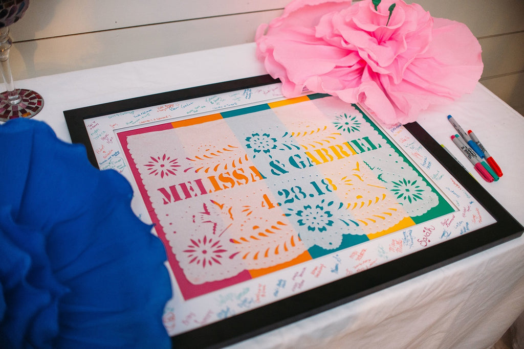 Melissa & Gabriel's framed personalised wedding papel picado banner