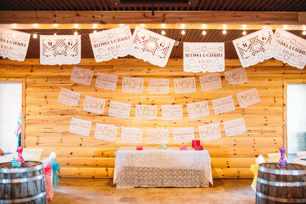 ARTMEXICO personalised wedding banners papel picado made for Melissa & Gabriel's by ARTMEXICO