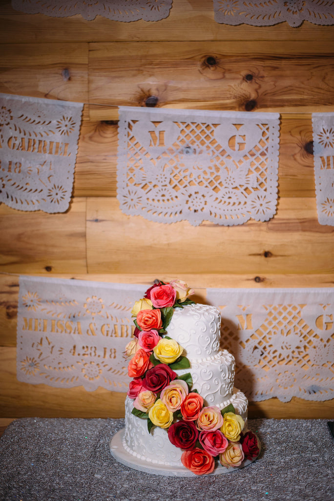 ARTMEXICO personalised wedding banners papel picado made for Melissa & Gabriel