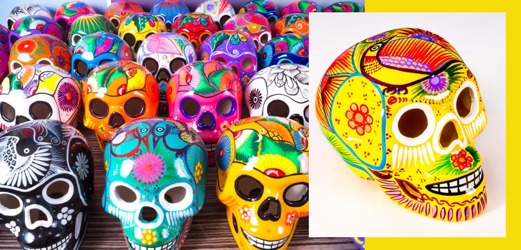 ceramic skulls day of the dead decorations