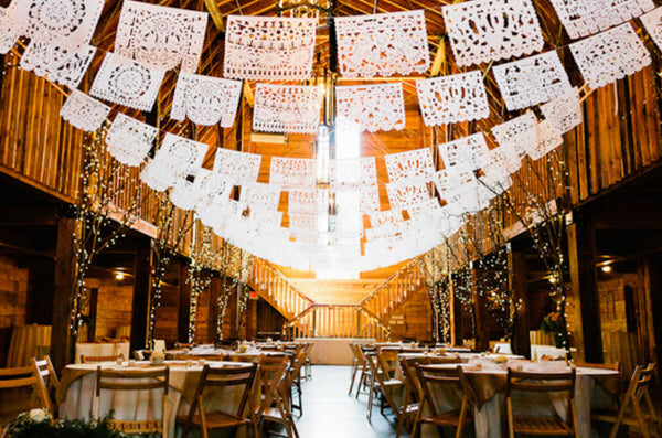 Papel picado hanging styles, arching down in the middle
