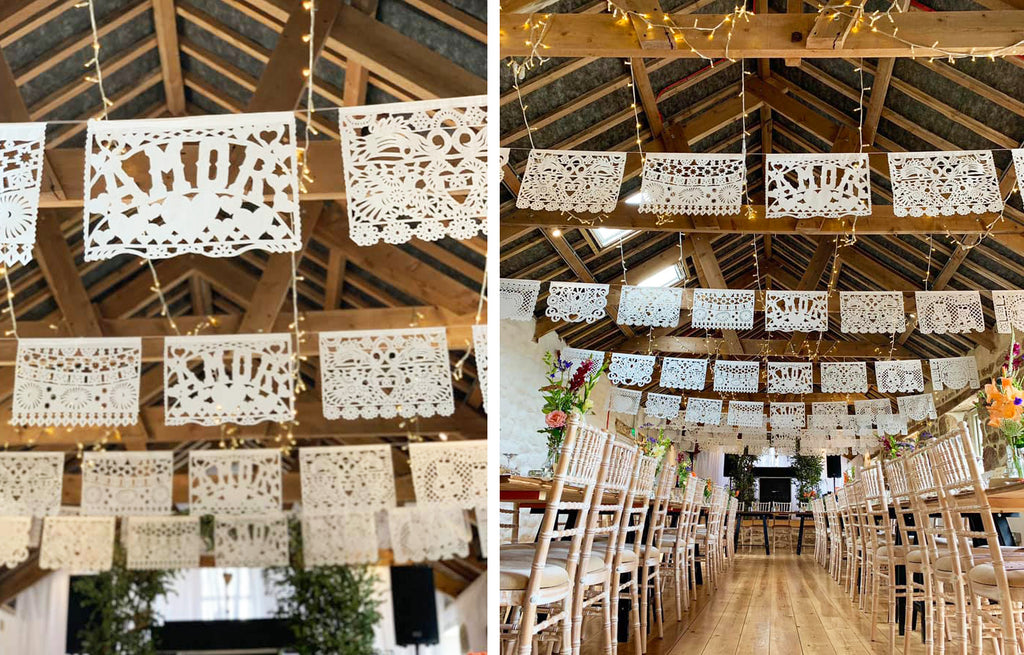 white papel picado wedding papel picado