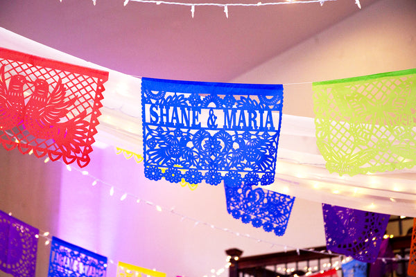 Personalised Wedding Fiesta Papel Picado in Custom Colours - ARTMEXICO
