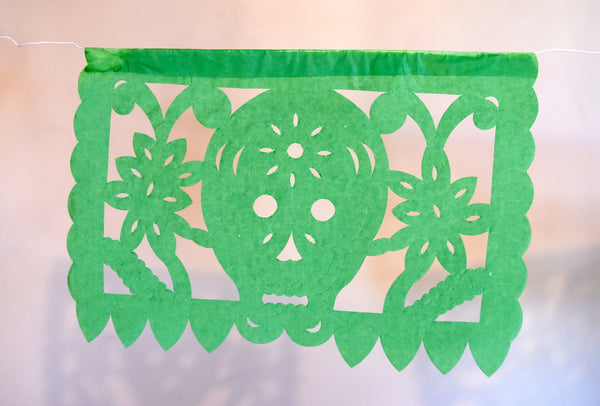 Mexican Day Of The Dead Bunting Halloween Decor | 5m/16ft Banner with 15 Small Flags - ARTMEXICO