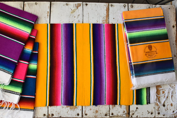 Mexican Placemats Set of 4 Serape Placemats Handwoven w Base Colours Yellow, Purple, Fuchsia, Dark Turquoise - ARTMEXICO