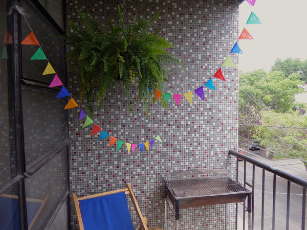 Mini Bunting Papel Picado Party Decorations | 1.75m/6ft Banner with 20 Mini Flags - ARTMEXICO