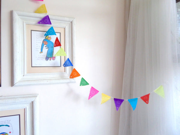 Mini Bunting Papel Picado Party Decorations | 1.75m/6ft Banner with 20 Mini Flags