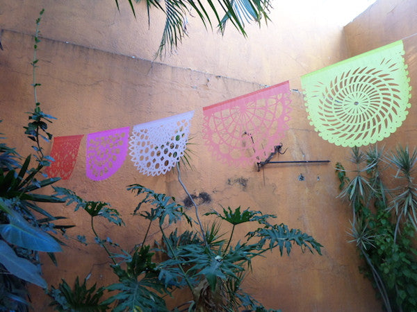 Coral Collection Bunting Papel Picado Fiesta Decorations | 5m/16ft Banner with 10 Large Flags - ARTMEXICO