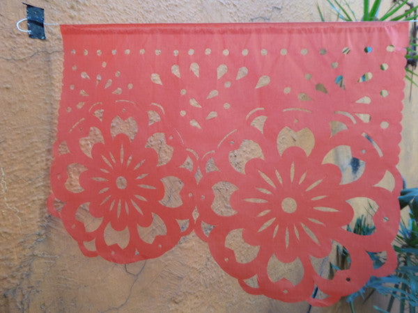 Coral Collection Bunting Papel Picado Fiesta Decorations | 5m/16ft Banner with 10 Large Flags