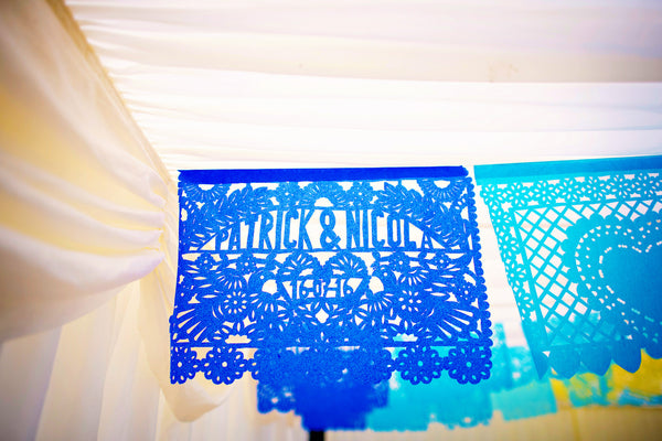 Personalised Mexican Wedding Papel Picado Decorations in Custom Colours - ARTMEXICO