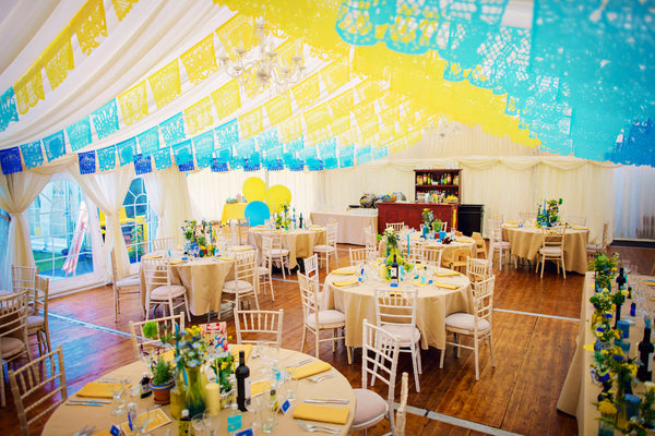 Personalised Mexican Wedding Papel Picado Decorations in Custom Colours