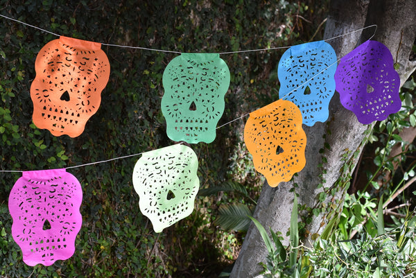 Sugar Skull Bunting Banner Halloween Party Bunting | 5m 16ft Banner with 15 Small Flags