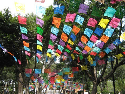 Mexican Papel Picado Banner | 5 meter (16ft) Banner with 10 Large Flags | Fiesta Decorations | Mexican Party Decorations | Mexican Banner