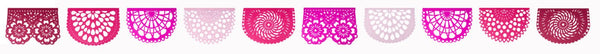 PAPEL PICADO Pink Fiesta | Mexican Bunting Banners Flags Party Decorations | 5m 16.4ft Garland with 10 Large Flags | Handmade in Mexico - ARTMEXICO