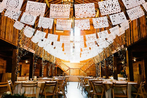 Mexican Wedding Papel Picado Bunting Decorations | Custom Made Lengths To Fit Your Venue Perfectly - ARTMEXICO