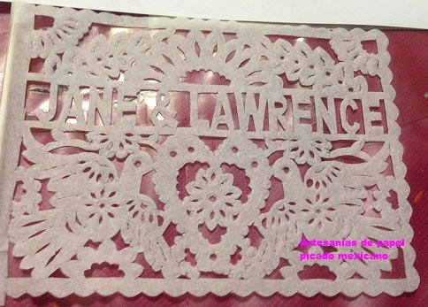 Personalized Papel Picado Wedding Favour Flags | 15cm x 12 cm (5.9in x 4.7in) - ARTMEXICO