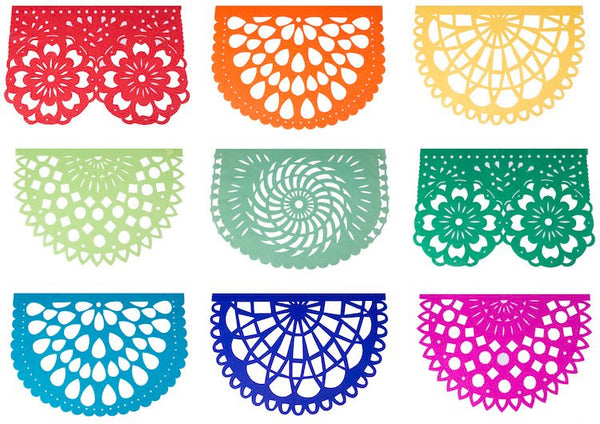Rainbow Fiesta Papel Picado Mexican Party Bunting | 5m 16.4ft Garland with 10 Large Flags - ARTMEXICO