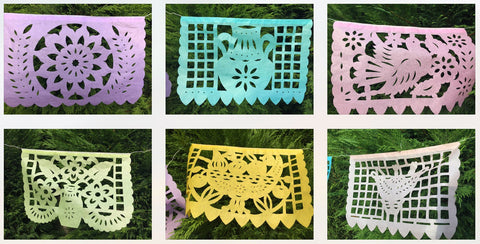 Baby Shower Garland Party Decorations | 1 x 5m / 16ft long pastel paper | Baby Shower Papel Picado | Baby Shower Party Supplies Girl or Boy