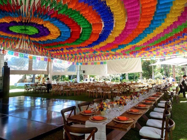 Corporate Event Bunting with 1 Custom Papel Picado Flag - ARTMEXICO