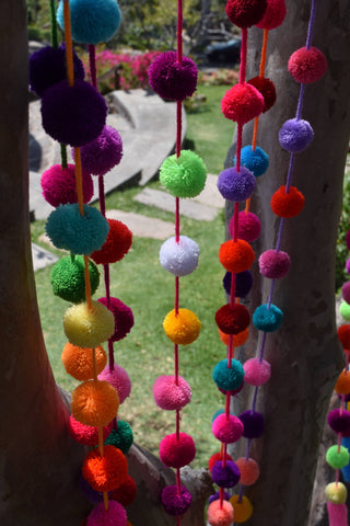 Pom Pom Garland | Pom Pom String | 5 pack of 1.50m / 5ft Colourful Pom Pom Garlands | Fiesta Decor |  Wedding Decor | Christmas Tree Decor