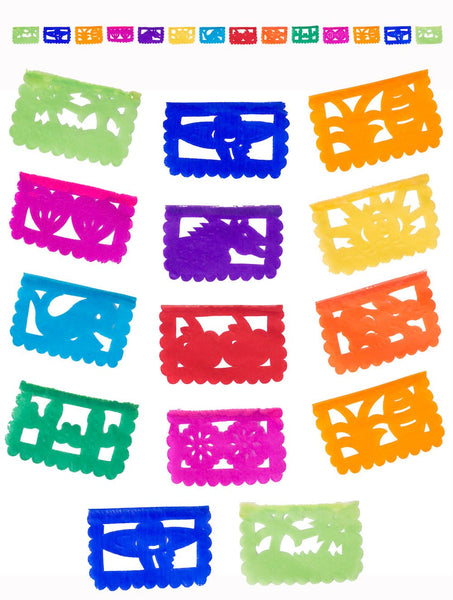MINI PAPEL PICADO | Mini Paper Bunting | 1.75m/5.9ft Colourful Mini Banner With 14 Mini Flags | Instant Easy To Hang Fun Party Fiesta Decor