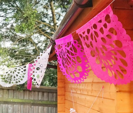 PAPEL PICADO Pink Fiesta | Mexican Bunting Banners Flags Party Decorations | 5m 16.4ft Garland with 10 Large Flags | Handmade in Mexico