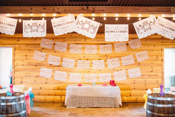 Personalized Wedding Decor Papel Picado Bunting Banners + Mini Matching Flag Favors | Custom Length Papel Picado Made To Fit Your Venue