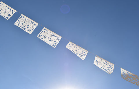 White Papel Picado | White Bunting Decorations | 5m / 15ft White Bunting Banners with 12 Medium Sized Paper Flags