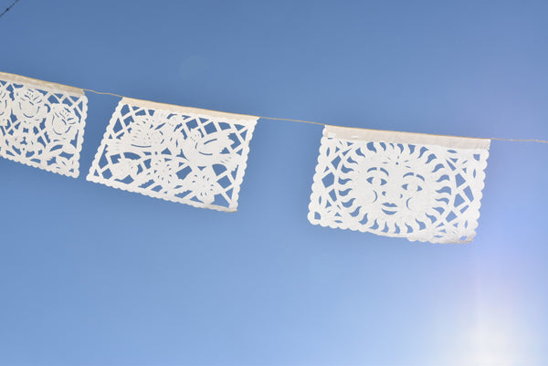 White Papel Picado | White Bunting Decorations | 5m (15ft) Garland with 12 Medium Flags - ARTMEXICO
