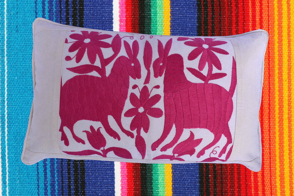 Otomi Cushion Cover | Pink Animals on Cream Muslin with Piped Edges Hand Embroidered in Mexico | Unique Gift or Christmas Present
