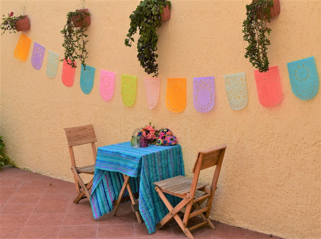 Pretty Pastel Papel Picado Party Bunting | 5m/16.4ft Pastel Colour Bunting with 16 Medium Sized Flags - ARTMEXICO