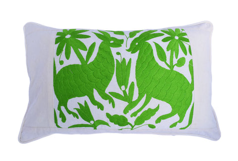 Otomi Cushion Cover Lime Green Animals on Cream Muslin with Piped Edges Hand Embroidered in Mexico | Unique Mother's Day Gift