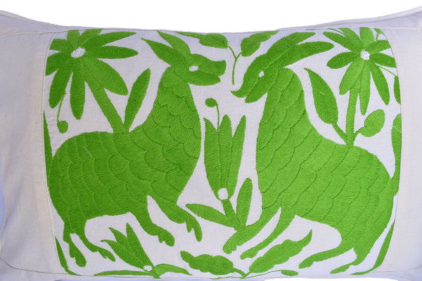 Otomi Cushion Cover Lime Green Animals on Cream Muslin with Piped Edges Hand Embroidered in Mexico - ARTMEXICO