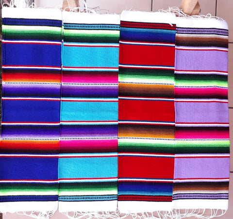 Mexican Placemats Set of 4 Serape Placemats Handwoven w Base Colours Dk Blue, Lt Blue, Red & Lilac - ARTMEXICO