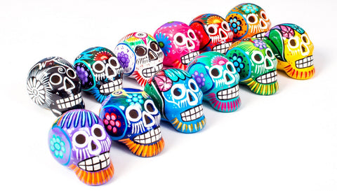Small Ceramic Skulls Wholesale x 50 | Painted Beautifully With Love In Mexico By Traditional Artist | Dia de Muertos Sugar Skull Decoration - ARTMEXICO