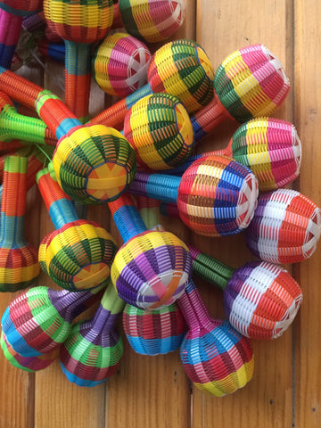 Wholesale Mexican Maracas/Rattles | PACK OF 10 | Great Fun Wedding Favours Perfect Noisemakers For Fiestas or Cute Children's Toys - ARTMEXICO
