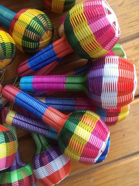 Wholesale Mexican Maracas/Rattles | PACK OF 10 | Great Fun Wedding Favours Perfect Noisemakers For Fiestas or Cute Children's Toys