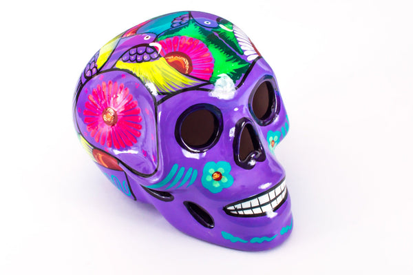 Large Ceramic Skulls Wholesale x 6 | Hand-painted With Love In Mexico By Traditional Huichol Artist - ARTMEXICO
