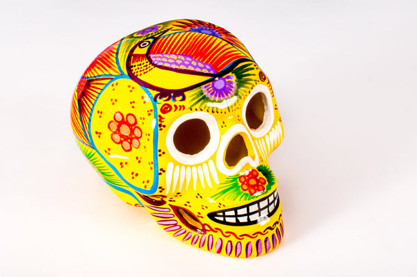 Ceramic Skulls Large x 10 | Beautifully Hand-painted With Love In Mexico By Traditional Huichol Artist | Dia de los Muertos Ceramic Skulls