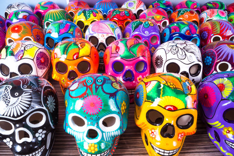 Large Ceramic Skulls Wholesale x 6 | Hand-painted With Love In Mexico By Traditional Huichol Artist | Dia de los Muertos Ceramic Skulls