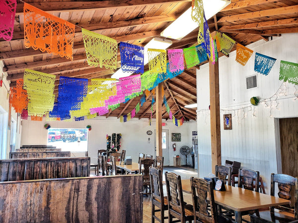Mexican Restaurant Decorations Custom Made With Your Logo & Branding Handmade To Custom Lengths In Your Custom Tissue Paper Colour Selection