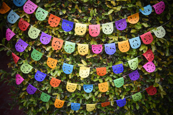 Mini Day of the Dead Flags Bunting Banner Decorations | 1.5m/5ft Long Banner with 10 Mini Flags